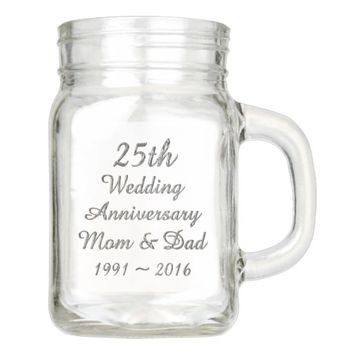 25th Wedding Anniversary Chic Silver Typography Mason Jar