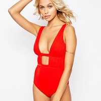 ASOS Gathered Deep Plunge Swimsuit