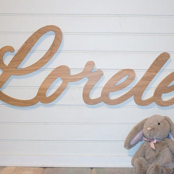 "Extra large Wooden Name sign DIY Unpainted 11 - 12 "" letters Personalized nursery name  nursery decor wooden wall art, above a crib"