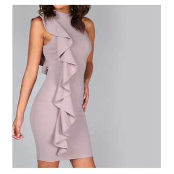 Taupe Lavender Sleeveless Ruffle Bodycon Dress