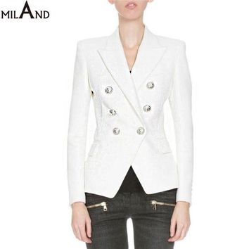 VONE2B5 white and black double breasted blazer 2016 high quality women's fashion jacket short autumn 806