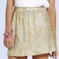 Gold Sequin Tulip Skirt with Fitted Waistband&Hidden Zipper