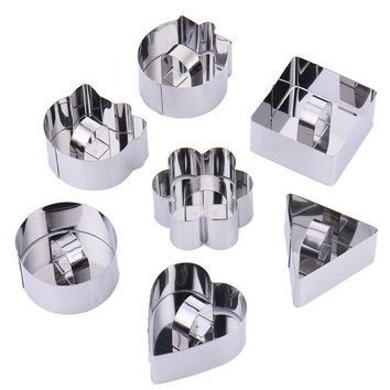 7pcs Biscuit Dough Cutters Set Sushi Cookies Moulds Stainless Steel Petals/Round/Square/Triangular Bakeware Mold Cake Tools