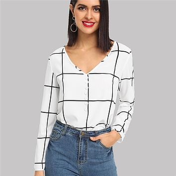 Black And White Office Lady Elegant Button Front V-Neck Long Sleeve Plaid Blouse Workwear Women Tops And Blouses