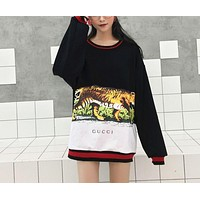 Gucci Fashion Tiger Print Long Top Sweater Pullover