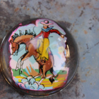 Vintage Glass Rodeo Paperweight Cowboy and Horse