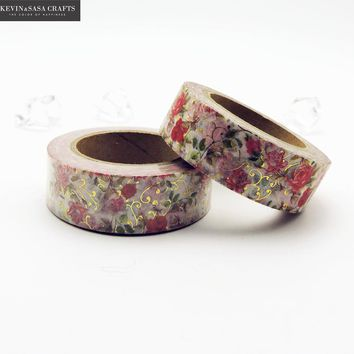 Flower Foil Washi Tape Colors Set Stationery Decorative Scotch Tape Scrapbooking Photo Album School Tools Kawaii Scrapbook Paper