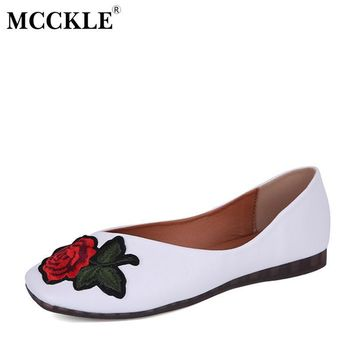 MCCKLE Ladies Flat Fashion Slip On Flowers Square Toe Autumn Style Loafers 2017 Women'