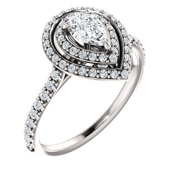 0.50 Ct Pear Halo-styled Diamond Engagement Ring 14k White Gold
