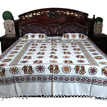 3p Indian Bedding Pillows Block Print White Brown Indi Hippie Bedspreads: Amazon.ca: Home & Kitchen