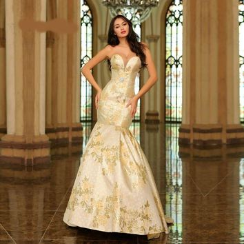 Luxury Evening Dresses Champagne Jacquard Sweetheart Mermaid Chapel Train Elegant Long Party Gowns