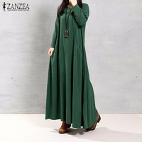 2017 Autumn ZANZEA Women Retro Long Dress O Neck Long Sleeve Pockets Casual Loose Solid Ankle Length Dress Vestidos Oversized