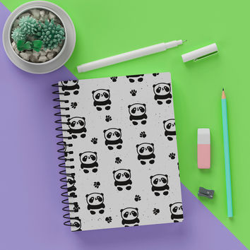 "5.5"" x 8""  Blank Spiral Fun Panda Notebook Journal - Write & Journal In Style - Black and White"