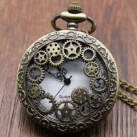 "Vintage Steampunk Style Bronze Quartz ""Hollow Gears"" Pocket Watch with Chain"