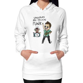 Ukuleles are frickin punk Hoodie (on woman)