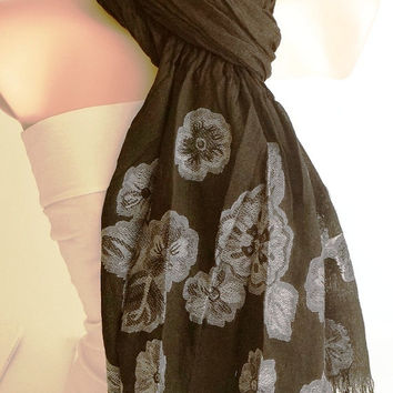 Black and Grey Scarf, Flower Scarf, Black Scarf, Long Scarf