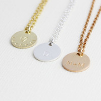 sterling silver personalized circle necklace, round necklace, name necklace, initial necklace,stamp necklace