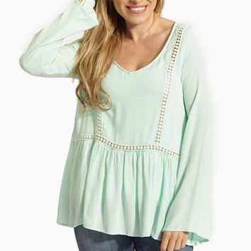 Mint Green Crochet Cutout Accent Linen Blouse