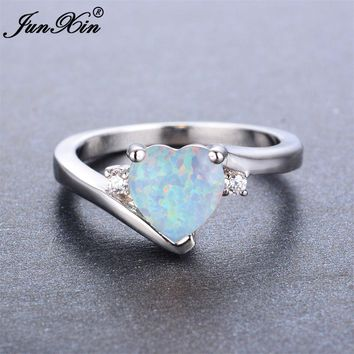 JUNXIN Boho Male Female White Opal Stone Ring Fashion Love Heart Ring Promise Wedding Engagement Rings For Men And Women