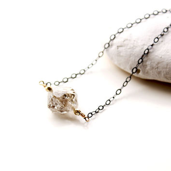 Herkimer Diamond Necklace, Single stone Necklace, Natural shape Herkimer Diamond silver Necklace, Mixed metal, Free form stone, Choker