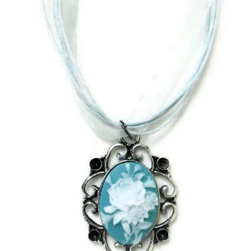 Vintage Inspired Blue / White Rose Cameo by DeathwishDesign