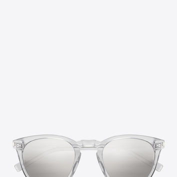 Saint Laurent Classic 28 Sunglasses In Crystal Acetate With Grey Mirrored Silver Lenses | ysl.com
