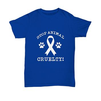 Stop Animal Cruelty! Paws Ribbon Save Dogs and Pets T-Shirt