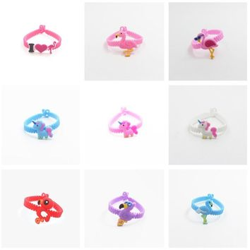 Pink Cute Soft PVC Silicone Bracelet Unicorn Flamingo Mermaid Theme party favors and gifts for guests unicornio party birthday