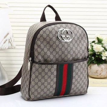 DCCK6HW Gucci' Unisex Casual Fashion Multicolor Stripe Classic Print Backpack Couple Travel Double Shoulder Bag