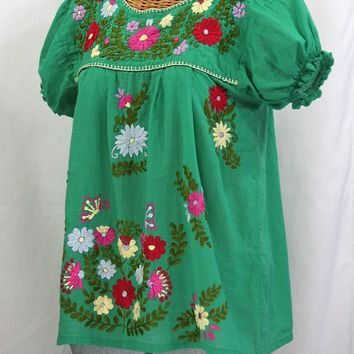 """La Mariposa Corta de Color"" Embroidered Mexican Peasant Blouse - Green"