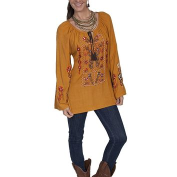 Scully Embroidered Peasant Tunic - Mustard