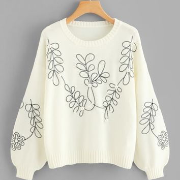 Pearl Beaded Bishop Sleeve Floral Jumper