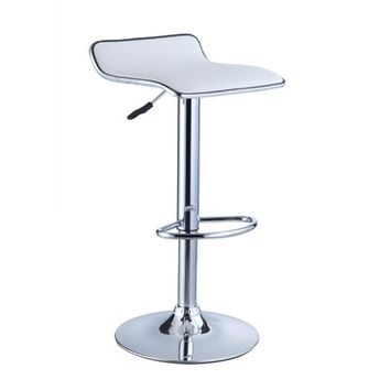 Powell White Faux Leather & Chrome Adjustable Height Bar Stool