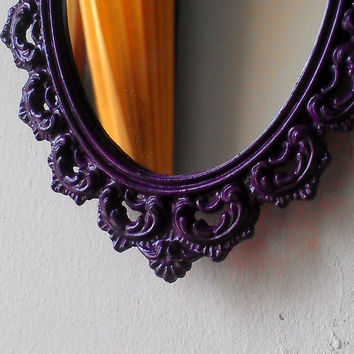Filigree Oval Mirror in Small 6 by 4 Inch Vintage Violet Frame, Vintage Wall Hanging, Purple Home Decor