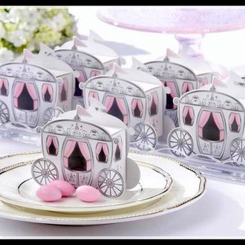 new Free shipping 100 pcs Cute Enchanted Carriage Favor Boxes wedding candy box sweet sugar box wedding party FAVOR gifts