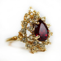 Vintage Teardrop Ruby Red Austrian Crystal with Round Clear Austrian Crystals Gold Tone Size 8 Cocktail Ring Victorian Style Made in USA 767