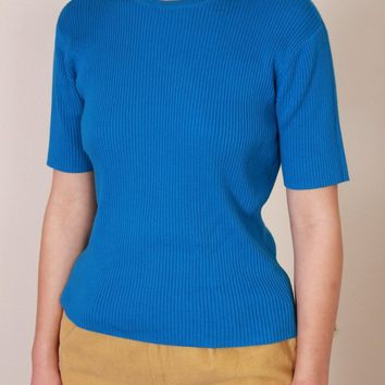 Bright Blue Ribbed Tee / M