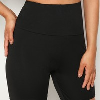 Wide Waist Solid Cycling Shorts