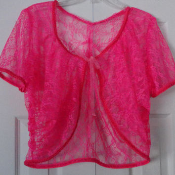 Bolero Jacket, Pink Lacey with trim and Sheer Ribbon Tie, Dressy, Stylish, Flattering Design, FREE SHIPPING in the USA only