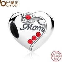 Authentic 925 Sterling Silver MOM Red Heart Charms fit Bracelets Mother 's Day Gift SCC004