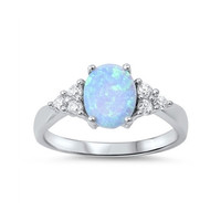 Sterling Silver Medium Blue Opal and White CZ Accented Ring