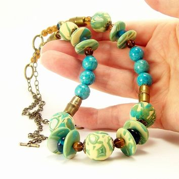 Eclectic Beaded Necklace, Turquoise Lime Green Stone Clay Brass Rustic Bohemian Necklace, For Women, Handmade by Bobbles By Carol