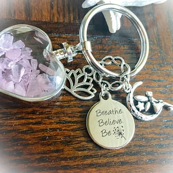 Rose Quartz Wishing Bottle, Breathe, Believe, BE Charm, Pretty Fairy, Lotus Keyring/ Keychain w/ FREE Message Card , Bag. Love Stone