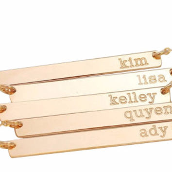 Gold Plated Bar Name Necklace