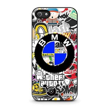 bmw sticker bomb iphone 5 5s se case cover  number 1