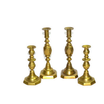 Vintage Brass Candlesticks Set of 4 Large Brass Candlestick Holders The Diamond Princess Candlesticks