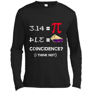 Pi Equals Pie Funny Math Pun Pi Day  Long Sleeve Moisture Absorbing Shirt