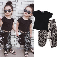 Kids Baby Girls Clothes Tops T-shirt Pants Harem Casual Fashion Outfits Set Summer Clothing Age 2-7Y