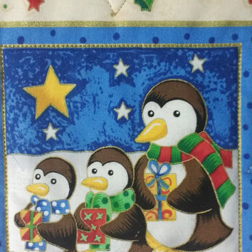 Baby's First Christmas - Christmas Wall Quilt - Nursery Decor Christmas Wall Hanging - Penguins Wall Mural - Baby Girl Baby Boy First Quilt