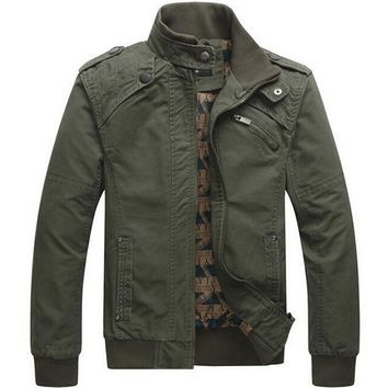Men's Jackets Me Casual cotton washed Army Military Outdoors St collar